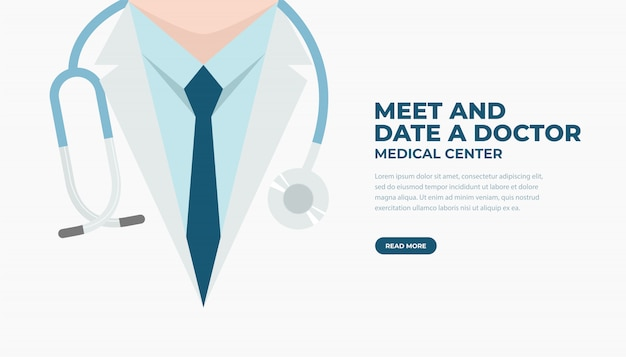 Doctor in lab coat with stethoscope. medical and health care banner.