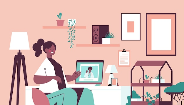 Doctor on laptop screen consulting african american female patient online consultation healthcare service medicine concept living room interior horizontal portrait
