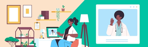 Doctor on laptop screen consulting african american female patient online consultation healthcare service medicine medical advice concept living room interior horizontal portrait
