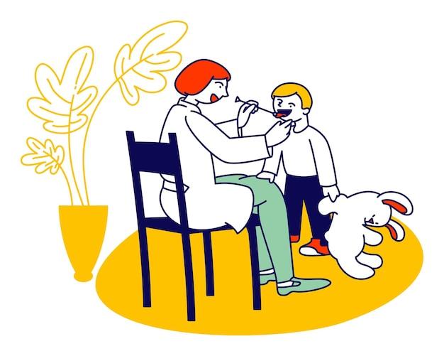 Врач-логопед работает с маленьким мальчиком, имеющим проблемы с произношением речи, глядя на язык маленького ребенка. мультфильм плоский иллюстрация