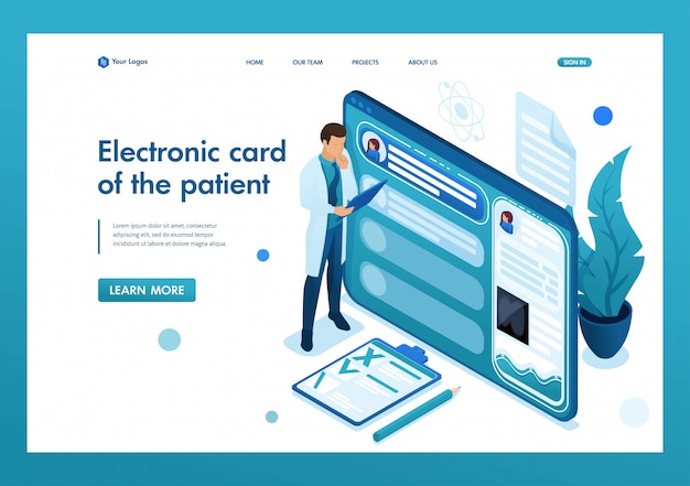 Doctor looks at the patient's electronic chart on the tablet. health care concept. 3d isometric. landing page concepts and web design