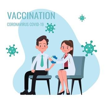 Врач делает инъекцию вакцины против гриппа мужчине в больнице