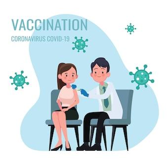 Врач делает инъекцию вакцины против гриппа женщинам в больнице, иллюстрация