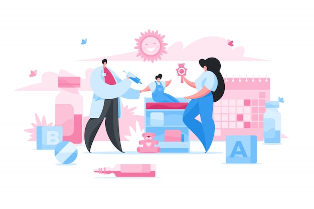 Doctor making injection to baby.  illustration
