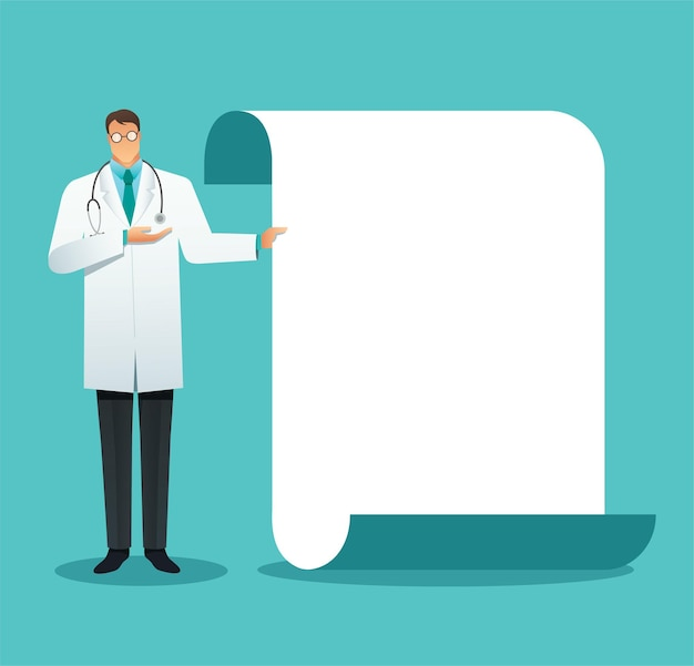 Doctor making a presentation, pointing to the screen
