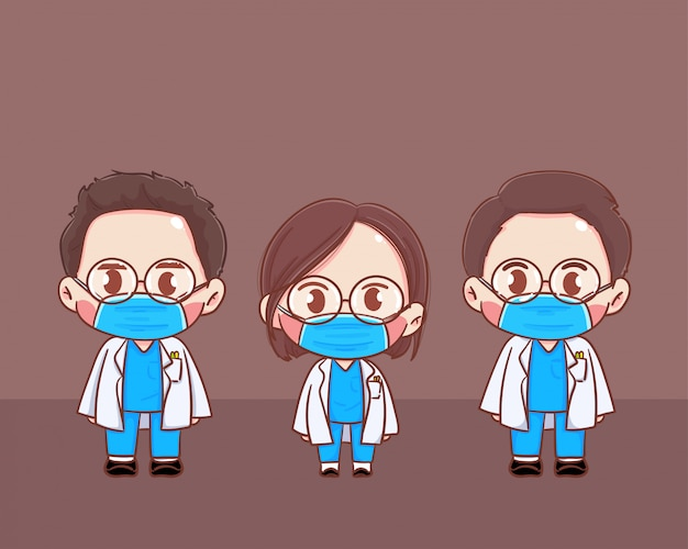 Doctor male and female  in personal protective suit wear a surgical protective medical mask for prevent virus       illustration