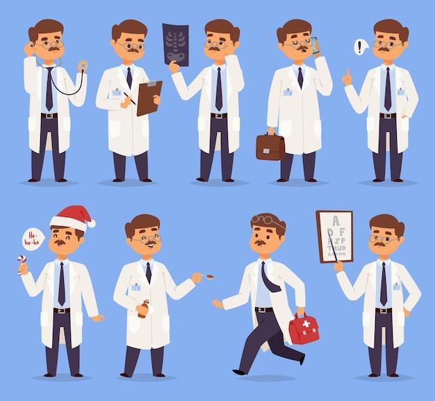 의사 남자 캐릭터 다른 포즈 보육 콧수염 의료 남자 사람들
