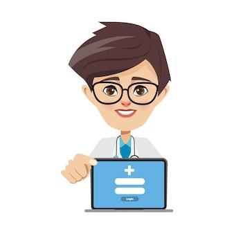 Doctor man presenting laptop