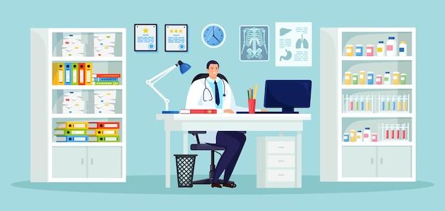 Человек доктора сидит за столом в медицинском кабинете больницы. врач ждет пациента за столом. запись в клинику