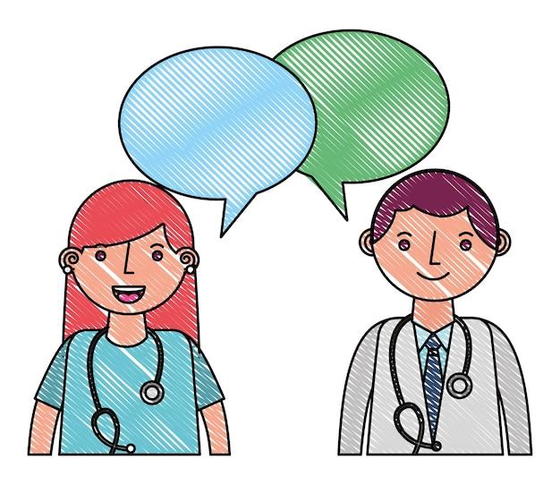 Doctor man and woman portrait speech bubble