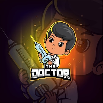 Доктор талисман киберспорт красочный логотип