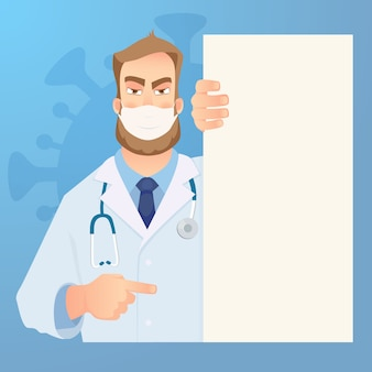Doctor in mask holding blank signboard