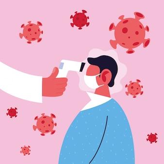 Врач измеряет температуру мужчины в медицинской маске, профилактику коронавируса