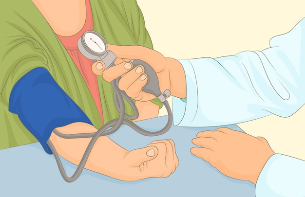 Doctor measures woman's blood pressure with tonometer