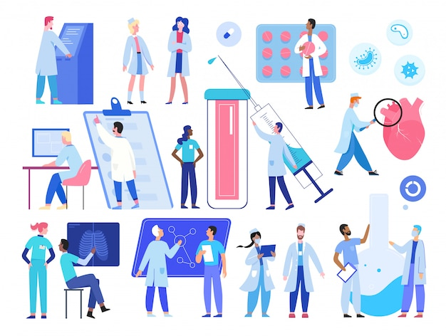 Doctor medic people work  illustration set. cartoon  hospital worker staff characters working in clinic, tiny researcher scientists researching in science medicine laboratory collection