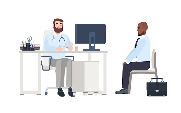 Doctor or medical adviser sitting at desk with computer and giving consultation to male patient. man at physician's office, clinic or hospital. colorful cartoon   illustration in flat style.