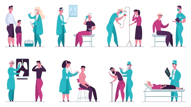 医師の診察。健康診断、病院のヘルスケア、超音波、予防接種、クリニックイラストセット。医療診断病院コレクション