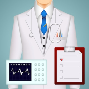 Doctor and medical charts and scans background with an electrocardiogram tracing