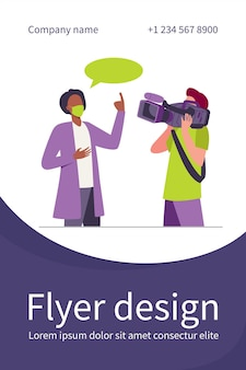 Doctor in medical coat and mask speaking at camera. scientist, operator, cameraman flat flyer template