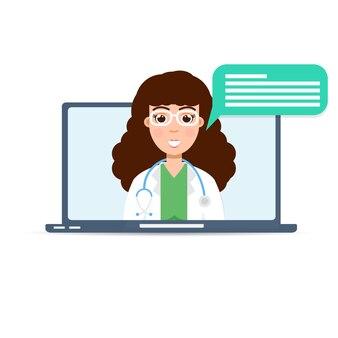 Doctor medical consultation online, internet  health service.  illustration.