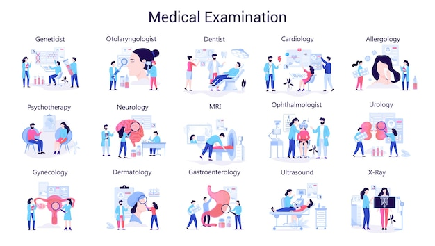 Doctor and medicine big set. collection of medical examination. ophthalmologist and physician, therapist and laboratory worker.   illustration