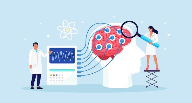 医師の神経内科医、神経科学者、医師は脳波を表示するために接続された脳を研究します。神経学、神経科学、脳波の概念。