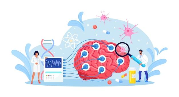 신경과 의사, 신경과학자, 의사는 eeg 표시로 디스플레이에 연결된 뇌를 연구합니다. 신경학, 신경 과학, 뇌파 개념.