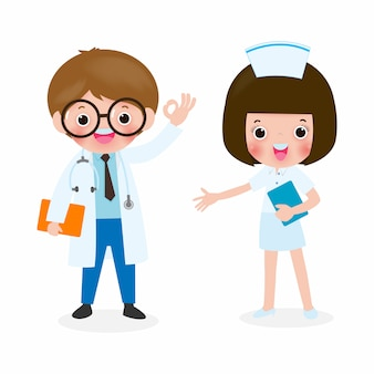 Doctor and nurse character isolated