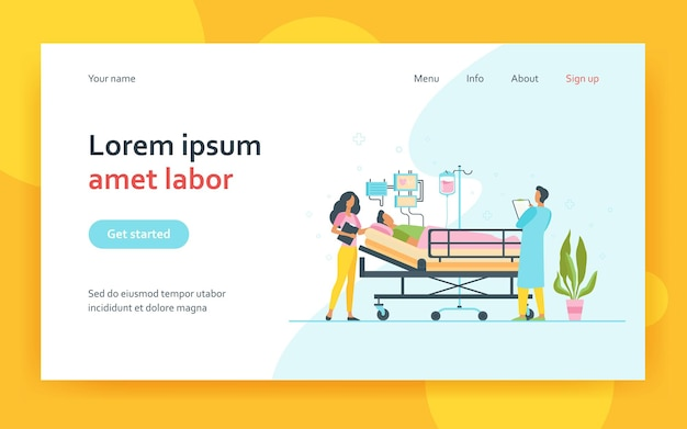 Doctor and nurse giving medical care to patient in bed isolated landing page