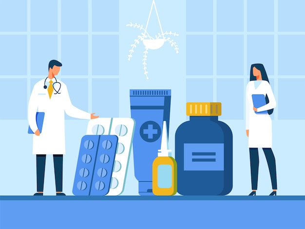 Doctor and nurse presenting new drugs illustration