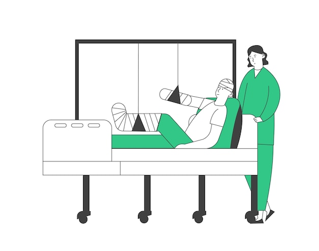 Doctor or nurse stand in chamber with patient lying on bed with bounded head, broken arm and leg, staff medical detour in traumatology department in hospital.