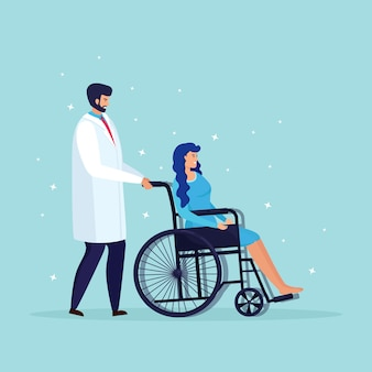 Doctor or nurse with wheelchair for senior patient, disabled people. medical insurance, support, examination in hospital. cartoon design