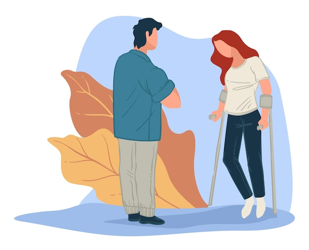 Doctor observing rehabilitation process of woman with broken leg. treatment and health care, exercising of female character after injury or fracture. helping to recover. vector in flat style