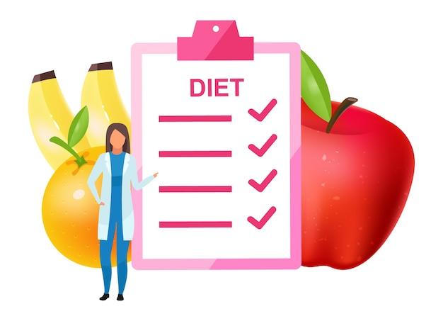フラットダイエットプランを提供する医師。栄養成分に果物を加える女性栄養士。菜食主義を促進する栄養士は、白い背景の上の漫画のキャラクターを分離しました
