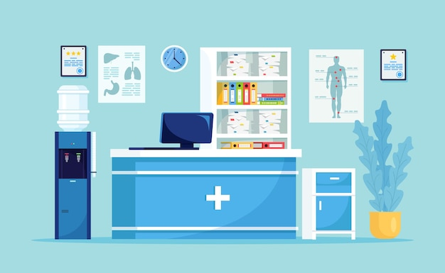 Приемная в кабинете врача. зал ожидания в больнице для пациента. письменный стол, стойка администратора