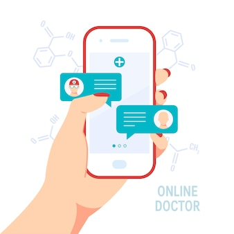 Doctor online concept. female holding in her hand a smartphone and talking to the doctor using an app or chat.
