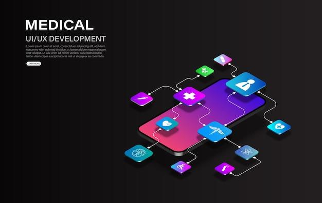 Доктор онлайн-концепция. телемедицина, лечение и онлайн-услуги здравоохранения, изометрическая сеть концепций