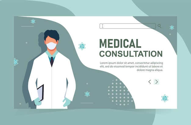 Doctor online concept with character. online diagnostics and pharmacy.