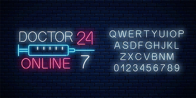 Doctor online glowing neon logo with alphabet on dark brick wall background. mobile medicine round the clock 24 7 app. neon doctors mobile app sign with syringe. vector illustration.