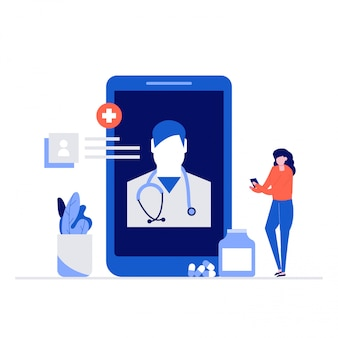 Doctor online  illustration concept with characters. woman using smartphone to communicate with doctor.