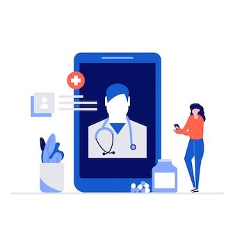 文字と医者オンラインイラストコンセプト。スマートフォンを使用して医師と通信する女性。