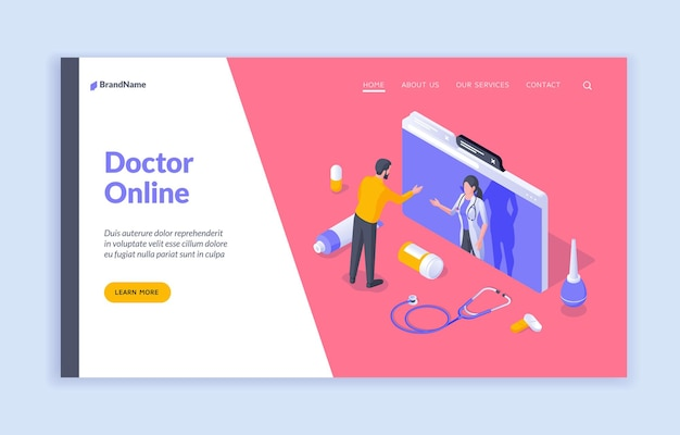 Doctor online isometric male patient communicating with female doctor