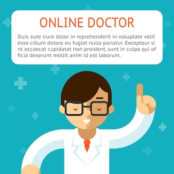 Врач онлайн на бирюзовом фоне. рекомендации и лечение, показания и рецепт. векторная иллюстрация