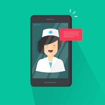 Doctor online video chat on cellphone vector illustration