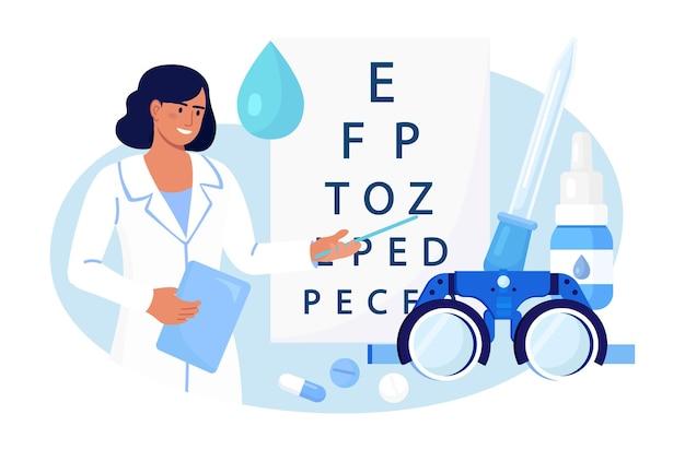 눈 검사 차트 근처에 서 있는 안과 의사. 안과 진단, 시력 검사. oculist는 시력을 확인하고 안경을 선택합니다. 시력 교정, 검안