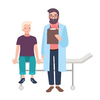 Доктор или медицинский советник и его маленький пациент сидя на изолированной больничной койке. мальчик в офисе педиатра, клинике или больнице. мультфильм иллюстрация в плоском стиле