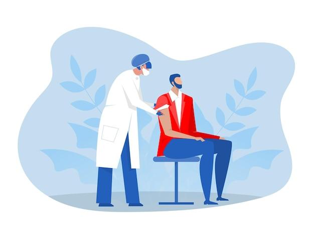 Врач или медсестра в защитной маске вводят мужчине вакцину. векторная иллюстрация плоский