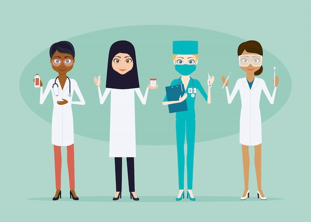 의사 또는 간호사 여자 문자 집합입니다. 평면 스타일 infographic 그림입니다. 의료 기기와 소녀 의료진 다른 인종과 국적