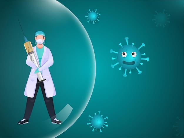 Врач или ученый, держащий инъекцию вакцины внутри стеклянной сферы с вирусной инфекцией
