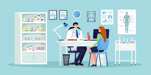 Doctor and patient at desk in hospital office. clinic visit for exam, meeting with physician, conversation with medic about diagnosis results. cartoon design